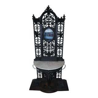 Early 1800's Antique Cast Iron Hall Tree For Sale