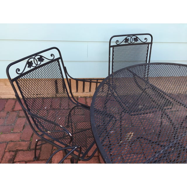 Vintage Iron Patio Dining Table & Chairs - S/7 - Image 3 of 6