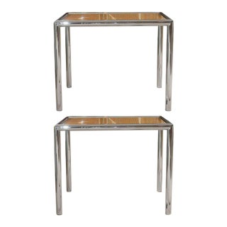 Pair of Milo Baughman Cane/Chrome End or Side Tables For Sale
