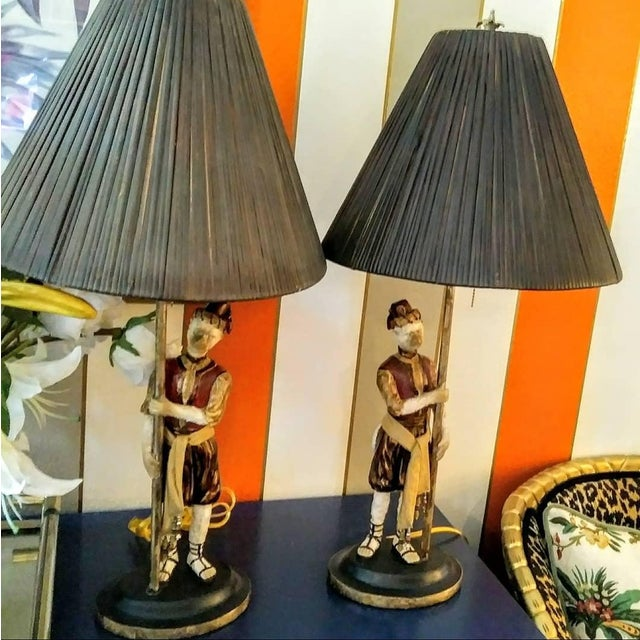 Hollywood Regency Vintage Bill Huebee Style Monkey Lamps with Rattan Parasol Shades - a Pair For Sale - Image 3 of 10