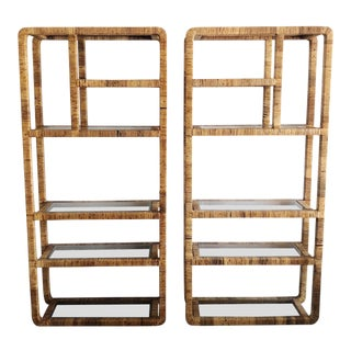 1970s Hollywood Regency Wrapped Rattan Etageres - a Pair For Sale