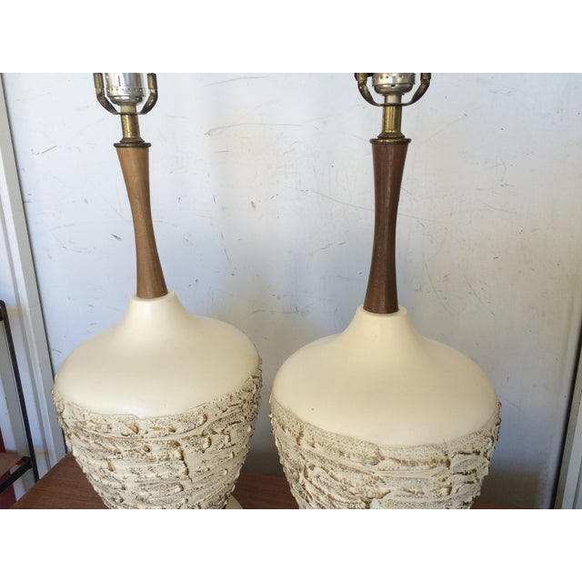 Mid-Century Ceramic & Walnut Table Lamps - A Pair - Image 3 of 7