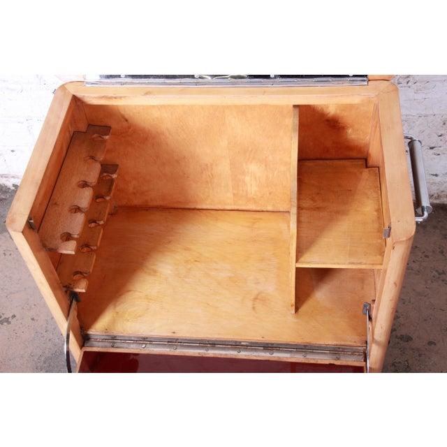 Brown 1930s Art Deco Burl Wood Rolling Bar Cart For Sale - Image 8 of 13