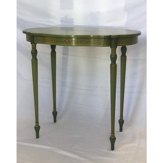 1960s 1960s John Widdicomb Hand Painted End Table With Floral Details For Sale - Image 5 of 5