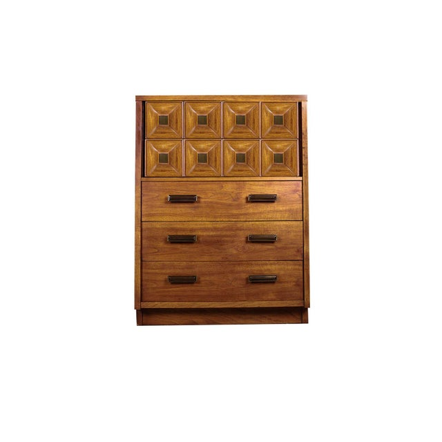 Extraordinary, rare Mid-Century Modern Graphical Geometric tall five drawer dresser by Lane Furniture. Features heavy...