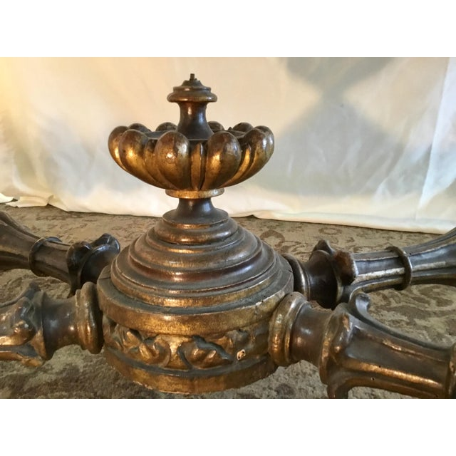 Stone 19th Century French Carved & Polychrome Table Base With Carrara Marble Top For Sale - Image 7 of 13