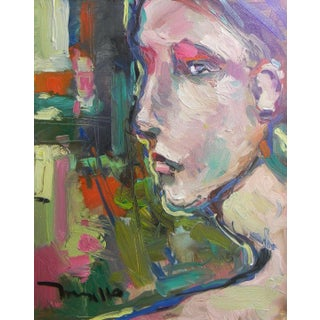 """Jose Trujillo Large 16x20"""" Expressionist Portrait Original Abstract Woman Face For Sale"""