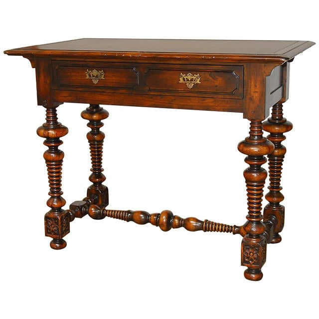 french louis xiii leather top writing table chairish. Black Bedroom Furniture Sets. Home Design Ideas