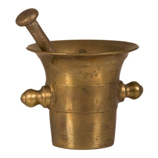 Solid Cast Brass Mortar and Pestle, France c.1920 For Sale