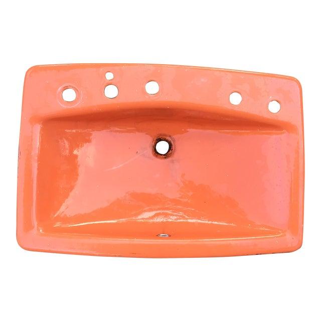 Mid-Century Burnt Orange Cast Iron Sink - Image 1 of 8