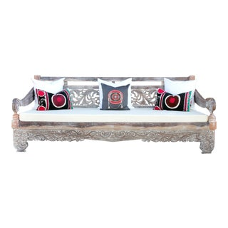 Grand Whitewashed Carved Opium Teak Lounge Daybed For Sale