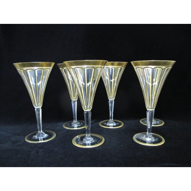 Glass Early 20th Century Vintage Gold Gilt & Clear Champagne Wine Glasses- Set of 6 For Sale - Image 7 of 7