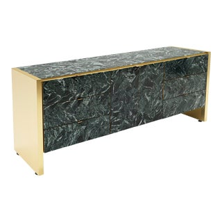 1970s Ello Storage Credenza Tessellated Green Marble and Brass For Sale