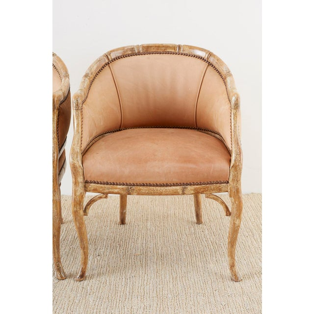 Set of Four Faux Bamboo Leather Barrel Back Lounge Chairs For Sale - Image 4 of 13