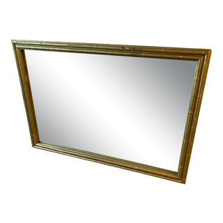 Asian Bamboo Gilded Wall Mirror For Sale