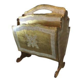 1930s Art Nouveau Italian 14k Gold & Silver Gilded Wooden Magazine Rack