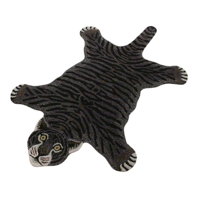 Contemporary Decorate Wild Black Tiger Design Handcuffed Area Rug For Sale
