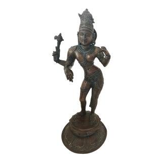 Indian Chola Style Bronze Ardhanarishvara Hindu God Shiva Antique Large Heavy Metal Asian For Sale