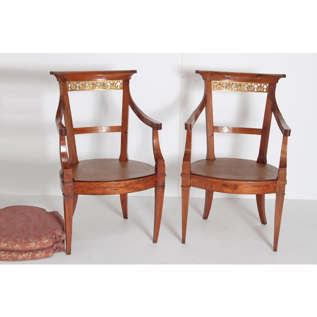 Pair of Italian Neoclassical Armchairs For Sale - Image 11 of 13
