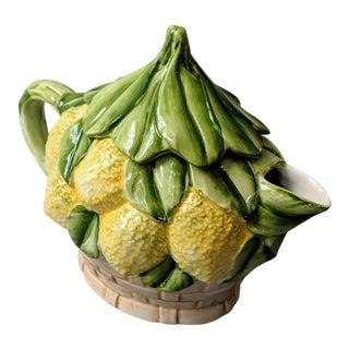 1980s Vintage Italian Lemon Leaf Basket Motif Tea Pot For Sale