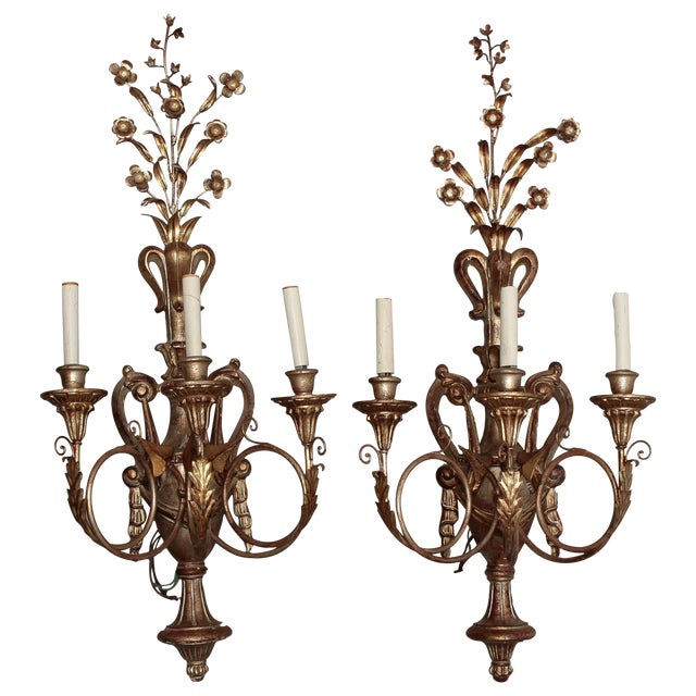 Vintage Italian Giltwood and Metal Sconces - Pair - Image 1 of 5
