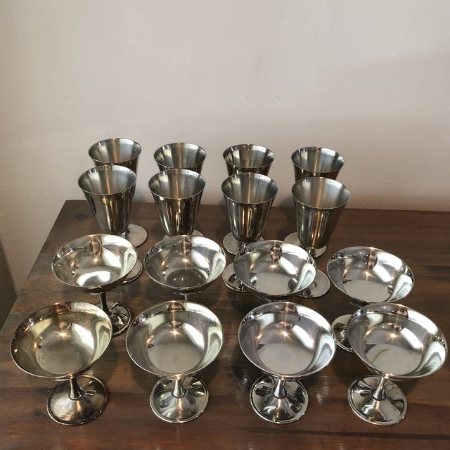 Glass 1960s Art Deco Silver Plated Italian Holiday Goblets and Champagne Glasses - 17 Pieces For Sale - Image 7 of 7