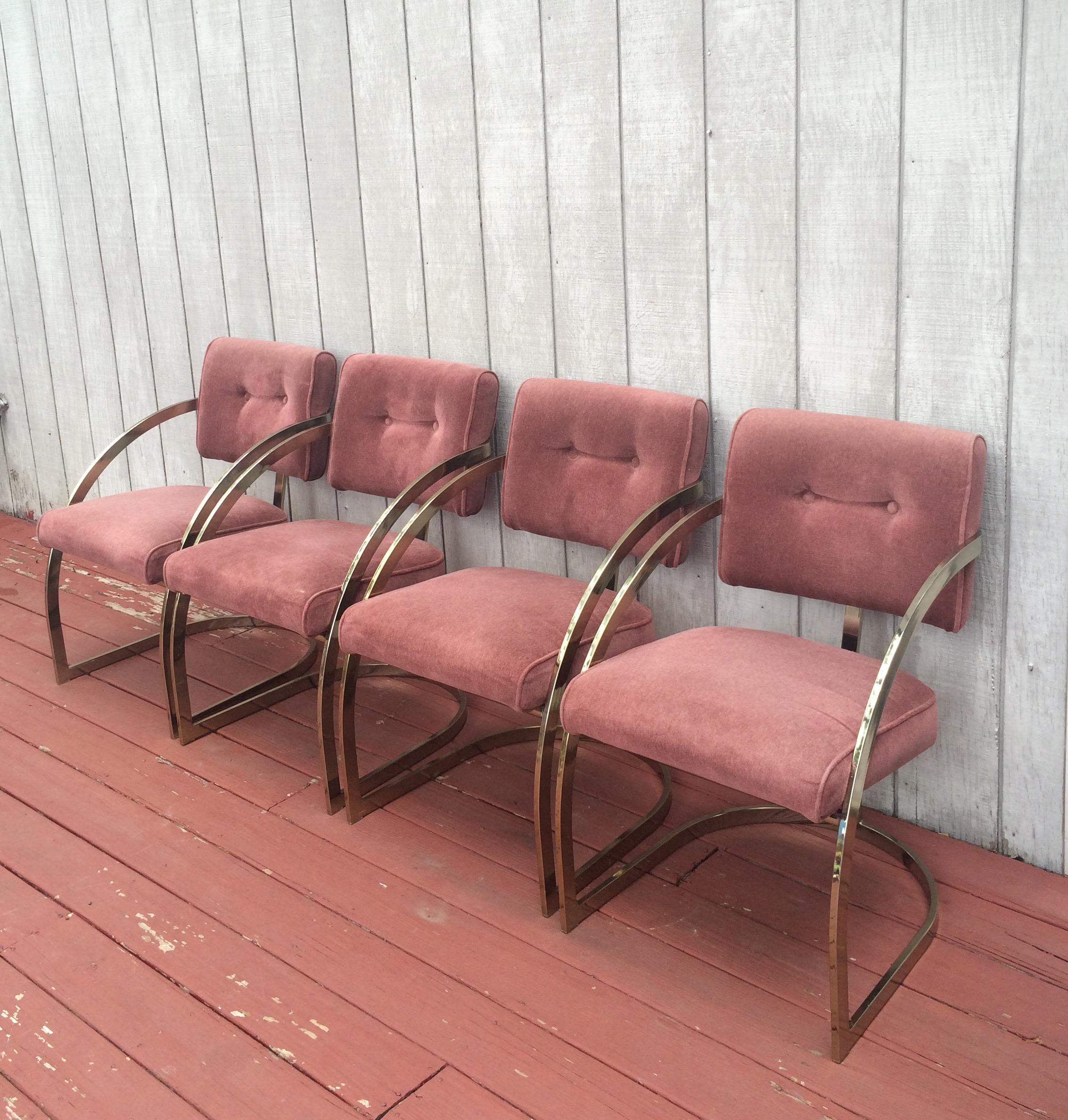 Milo Baughman Style Curved Brass Dining Chairs   Set Of 4   Image 2 Of 7