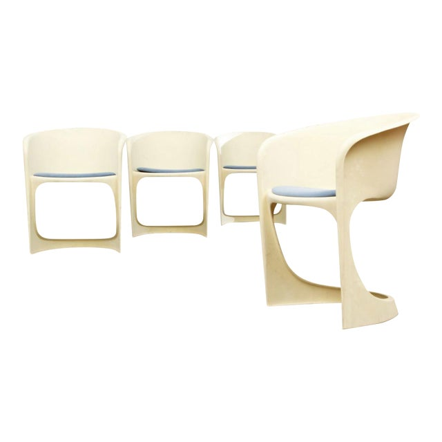 Cado by Steen Ostergaard Mid Century Danish Modern Molded Plastic Stacking Dining Chairs - Set of 4 - Image 1 of 7