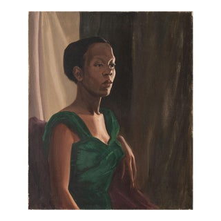 Portrait of Contemplative Woman in Green, Oil Painting