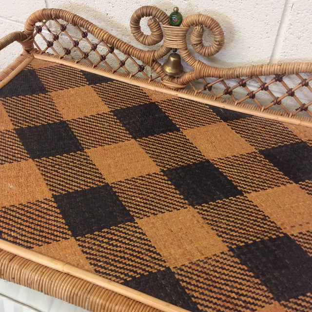 Retired MacKenzie Childs Ajiro Weave Wicker Rattan Scrolled Bed Tray For Sale - Image 5 of 11