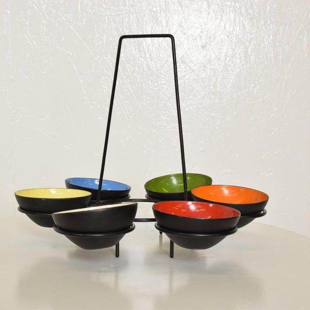 Krenit Mid-Century Modern Center Piece Enamel Bowls - 6 Pc. Set For Sale - Image 4 of 10