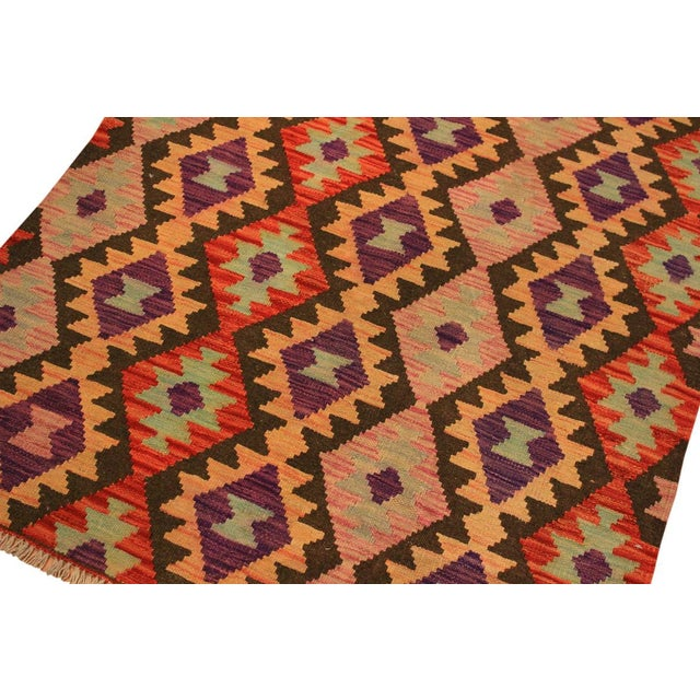 2010s Kilim Arya Nephele Rust/Purple Wool Rug -3'4 X 5'0 For Sale - Image 5 of 8