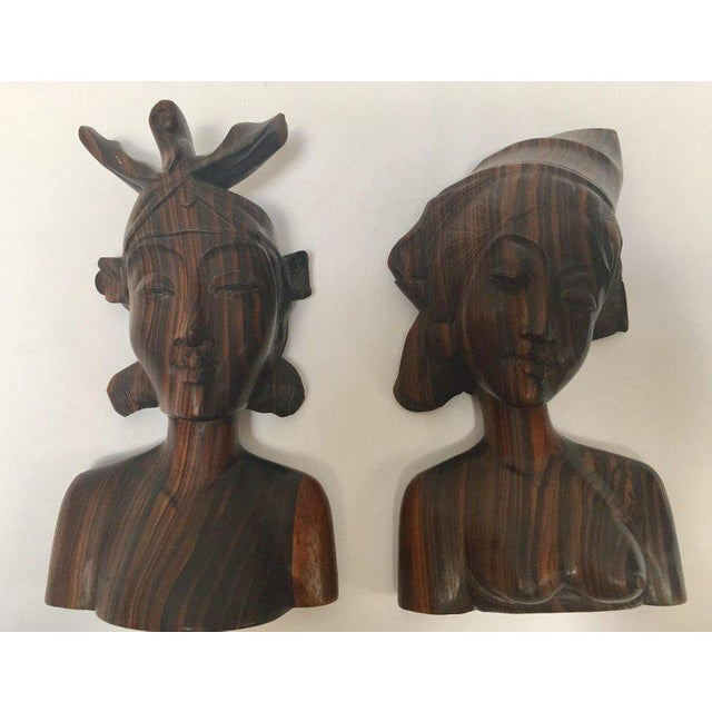 Balinese Hand Carved Wooden Busts Bookends - a Pair For Sale - Image 11 of 11