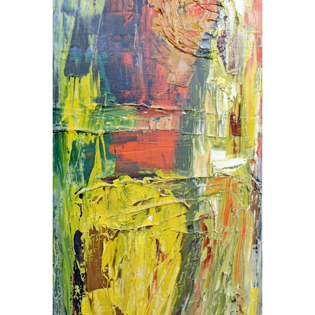 Mid Century Modern Framed Oil Pallet Knife Canvas Painting Signed Bochraz For Sale - Image 4 of 9