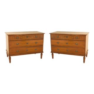 Pair of 19th Century Italian Neoclassical Fruitwood Three-Drawer Chests For Sale