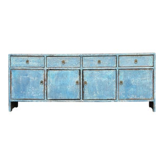 Charming Qing Style Powdered Blue Low Credenza For Sale