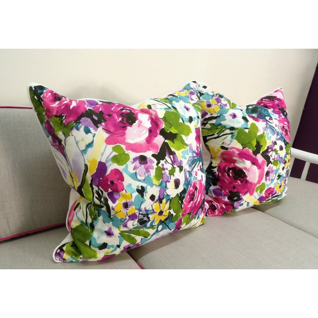 Colorful and lively! Custom Made- New- Multi Color Floral Pillows.... with shades of pink, green, blue, yellow and white,...