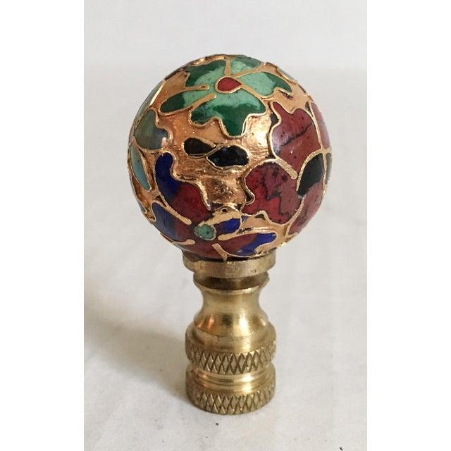 Vintage Cloisonne Floral Lamp Finial - Image 4 of 6