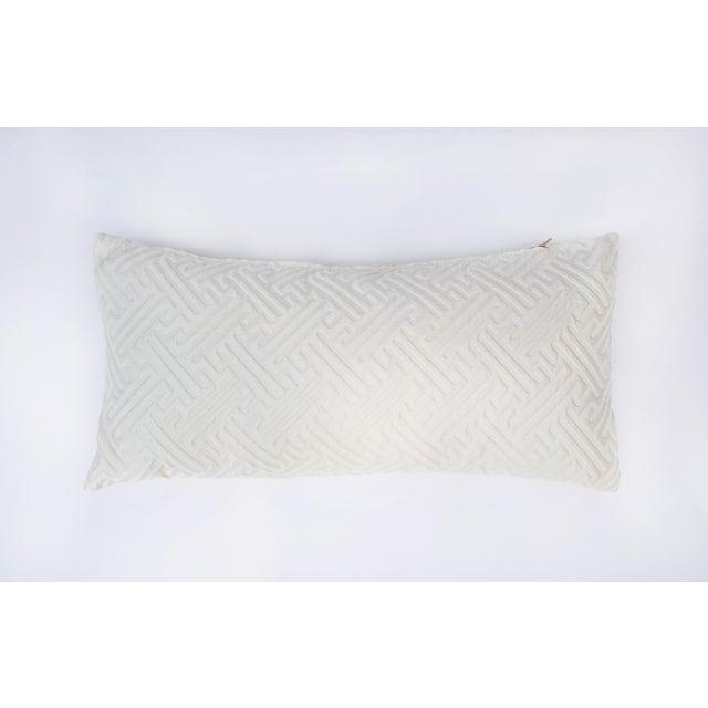 Modern Cream Geometric Print Lumbar Pillow For Sale - Image 3 of 6