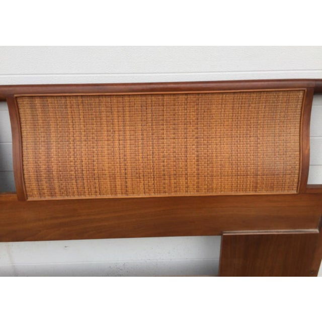 Drexel Mid-Century Walnut & Cane King Size Headboard For Sale - Image 5 of 6