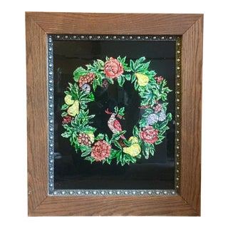 Victorian Tinsel Painting of Wreath With Bird For Sale