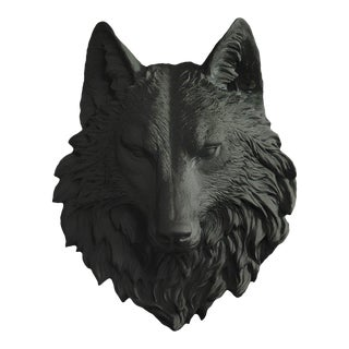 Faux Wolf Head Bust in Black by Wall Charmers For Sale