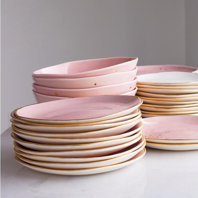 2010s Suite One Studio Dessert Plates in Rose With Gold Splatters For Sale - Image 5 of 6