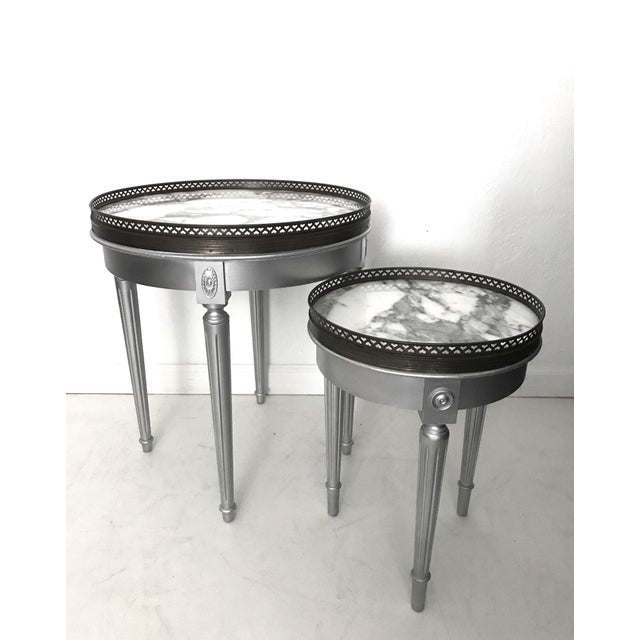 Silver Galleried Drinks or Side Table With Marble Top For Sale - Image 4 of 4