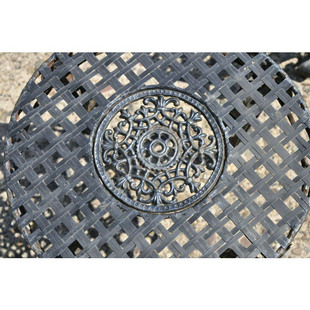 Mid 20th Century French Art Nouveau Style Wrought Iron Lattice Top Round Side Tables - a Pair For Sale - Image 5 of 12