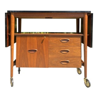 Heritage Furniture Mid Century Modern Rolling- Bar Cart For Sale