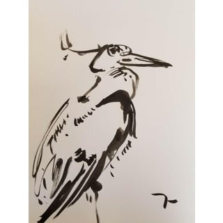 Jose Trujillo Original Abstract Crane Ink Wash Painting For Sale
