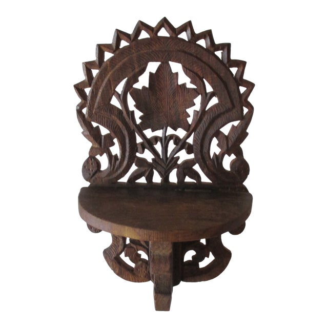 Decorative Petite Indian Carved Wood Shelf For Sale
