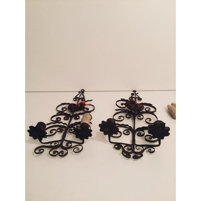 Italian Metal Scroll Candle Sconces - A Pair For Sale In New York - Image 6 of 8