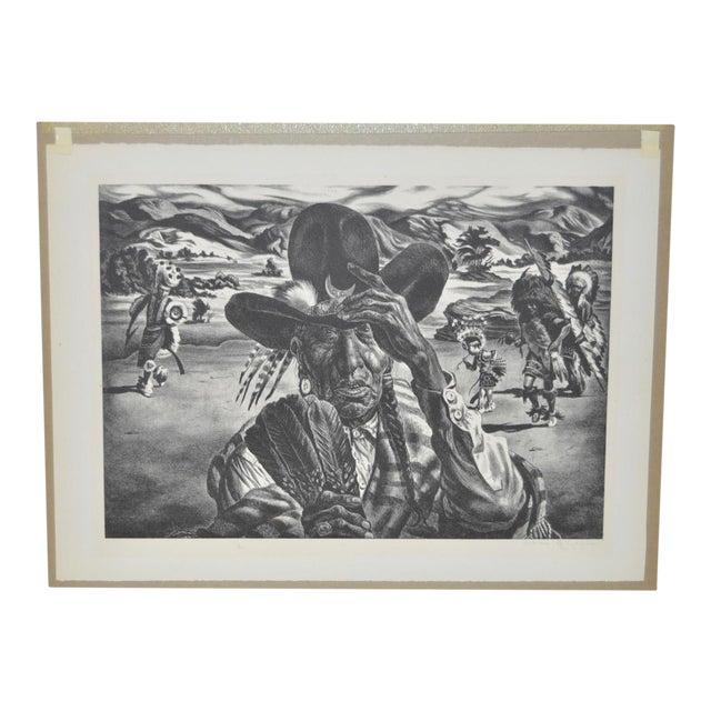 "1940 Vintage ""Comanche Portrait"" Pencil Signed Lithograph by Charles Banks Wilson - Image 1 of 6"